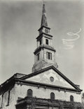 Photographs:Gelatin Silver, Berenice Abbott (American, 1898-1991). St. Mark's Church with skywriting, New York City, 1937. Gelatin silver, printed l...