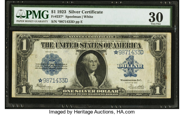 Fr. 237* $1 1923 Silver Certificate PMG Very Fine 30.. ... Large ...