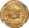 Ancients:Byzantine, Ancients: Maurice Tiberius (AD 582-602). AV solidus (4.47 gm). NGCChoice AU 4/5 - 3/5....