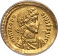 Ancients:Roman Imperial, Ancients: Theodosius I the Great (AD 379-395). AV solidus. ANACS AU58, smoothed....