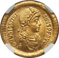 Ancients:Roman Imperial, Ancients: Valentinian II (AD 375-392).AV solidus (21mm, 4.43 gm, 6h). NGC Choice AU 5/5 - 3/5....