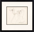 Football Collectibles:Others, Circa 1970 George Halas Sketch by Leroy Neiman, Signed by Neiman....