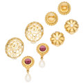 Estate Jewelry:Earrings, Multi-Stone, Diamond, Freshwater Cultured Pearl, Gold Earrings. ... (Total: 4 Items)