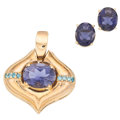 Estate Jewelry:Suites, Irradiated Blue Diamond, Iolite, Gold Jewelry Suite . ... (Total: 2 Items)