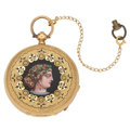 Estate Jewelry:Watches, Swiss Lady's Diamond, Enamel, Gold Hunting Case Pocket Watch, c. 1865. ...