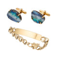 Estate Jewelry:Lots, Gentleman's Boulder Opal, Gold Jewelry . ... (Total: 2 Items)