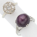 Estate Jewelry:Rings, Diamond, Star Ruby, White Gold Rings. ... (Total: 2 Items)