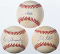 Autographs:Baseballs, New York Mets/Yankees Greats Single Signed Baseball Trio (3)....