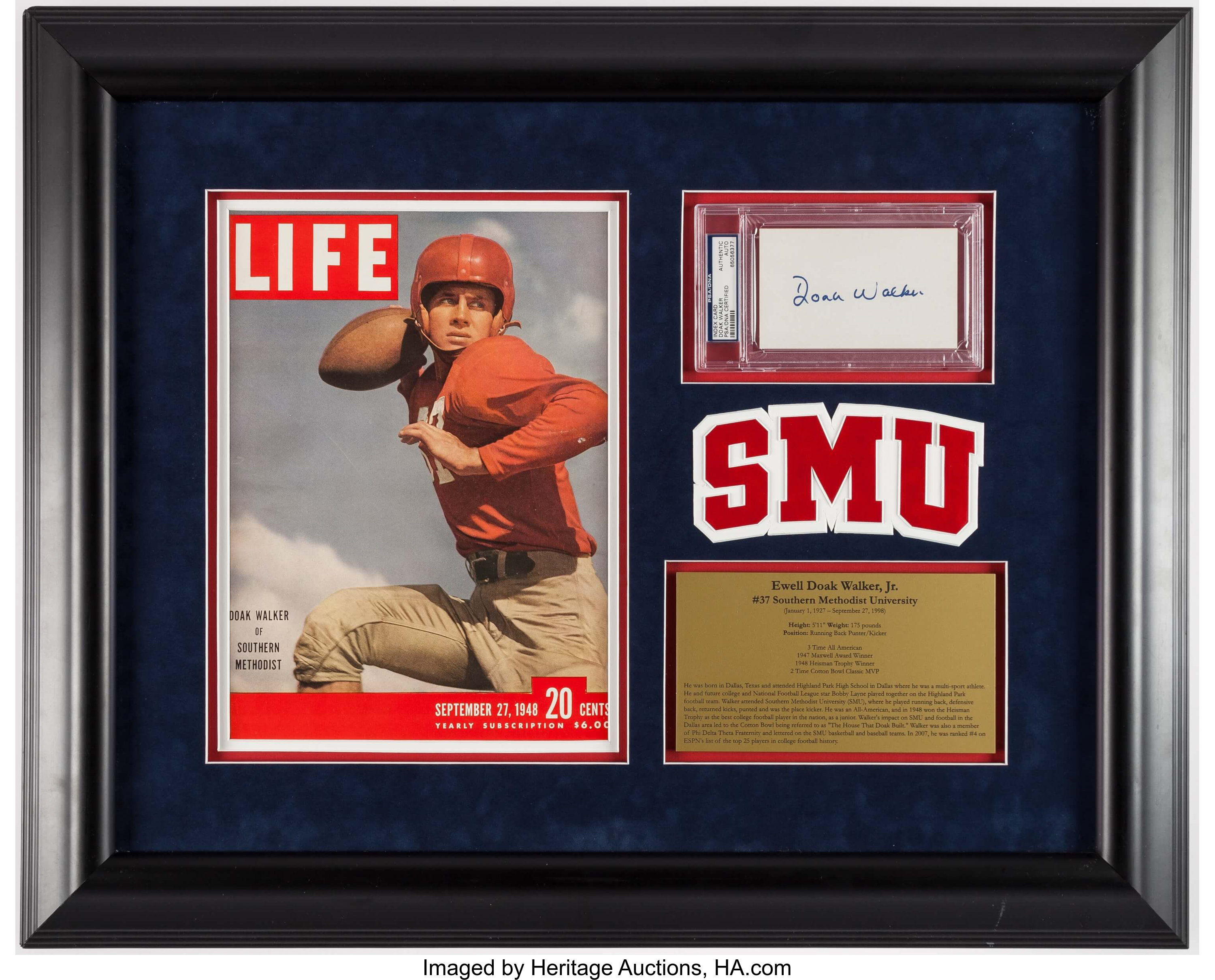 Doak Walker Signed Index Card Display    Football