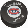 Hockey Collectibles:Others, Frank Mahovlich Signed Montreal Canadiens Hockey Puck. ...