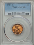 Lincoln Cents: , 1954-S 1C MS67 Red PCGS. PCGS Population: (277/0). NGC Census: (794/0). CDN: $85 Whsle. Bid for problem-free NGC/PCGS MS67....