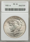Peace Dollars: , 1935 $1 MS64 ANACS. NGC Census: (2236/807). PCGS Population:(2707/1261). CDN: $200 Whsle. Bid for problem-free NGC/PCGS MS...