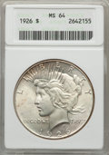 Peace Dollars: , 1926 $1 MS64 ANACS. NGC Census: (3580/814). PCGS Population:(4361/1709). CDN: $100 Whsle. Bid for problem-free NGC/PCGS MS...