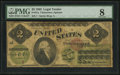 Large Size:Legal Tender Notes, Fr. 41a $2 1862 Legal Tender PMG Very Good 8....