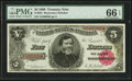 Large Size:Treasury Notes, Fr. 361 $5 1890 Treasury Note PMG Gem Uncirculated 66 EPQ.. ...