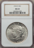 Peace Dollars: , 1922-D $1 MS65 NGC. NGC Census: (899/248). PCGS Population:(1288/214). CDN: $500 Whsle. Bid for problem-free NGC/PCGS MS65...