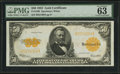 Large Size:Gold Certificates, Fr. 1200 $50 1922 Gold Certificate PMG Choice Uncirculated 63 EPQ.. ...