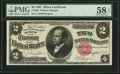 Large Size:Silver Certificates, Fr. 246 $2 1891 Silver Certificate PMG Choice About Uncirculated 58 EPQ.. ...