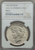 Peace Dollars, 1923 $1 Whisker & Crack, VAM-1A2, MS61 NGC. TOP-50. Mintage30,800,000....