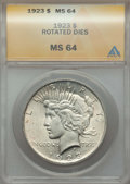 Peace Dollars, 1923 $1 -- Rotated Dies -- MS64 ANACS. NGC Census: (146453/40793).PCGS Population: (86937/19825). CDN: $33 Whsle. Bid for ...