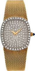Timepieces:Wristwatch, Bulova 14k Gold Gent's Diamond Wristwatch, circa 1980. ...