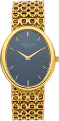 Timepieces:Wristwatch, Patek Philippe Ref. 3598-1 Gold Oval Watch With Heavy Link Band,circa 1970. ...