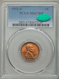 Lincoln Cents: , 1952-S 1C MS67 Red PCGS. CAC. PCGS Population: (181/0). NGC Census: (391/0). CDN: $160 Whsle. Bid for problem-free NGC/PCGS...