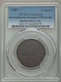 Colonials, 1787 Connecticut Copper, Mailed Bust Left -- Environmental Damage -- PCGS Genuine. Poor / Fair Details. This lot will also ... (Total: 2 coins)