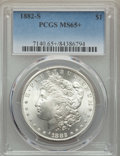 Morgan Dollars: , 1882-S $1 MS65+ PCGS. PCGS Population: (18944/6078 and 254/287+). NGC Census: (19184/8360 and 218/221+). CDN: $120 Whsle. B...