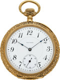 Timepieces:Pocket (post 1900), Waltham 14k Gold Model 1894 21 Jewel Bridge Model. ...