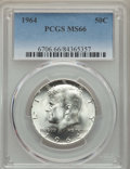 Kennedy Half Dollars, (2)1964 50C MS66 PCGS. PCGS Population: (1504/68). NGC Census:(1133/48). Mintage 273,300,000.... (Total: 2 coins)