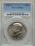 Kennedy Half Dollars, 1980-D 50C MS66 PCGS. This lot will also include a: 1983-D 50C MS66PCGS.... (Total: 2 coins)