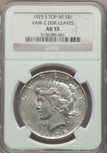 Peace Dollars, 1925-S $1 Doubled Leaves, VAM-2, AU55 NGC. TOP-50. PCGS Population:(5/45). CDN: $24 Whsle. Bid for prob...
