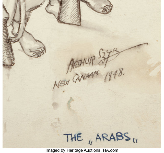 Other, Arthur Szyk (American, 1894-1951). The Arabs, 1948. Inkwash on board. 7.25 x 11.75 in.. Signed, dated, and inscribed low...