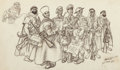 Mainstream Illustration, Arthur Szyk (American, 1894-1951). The Arabs, 1948. Inkwashon board. 7.25 x 11.75 in.. Signed, dated, and inscribed low...