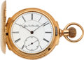 Timepieces:Pocket (pre 1900) , Elgin 21 Jewel Convertible, 14k Gold Box Hinge Hunter's Case, circa1879. ...