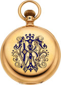 Timepieces:Pocket (pre 1900) , Waltham 18k Gold & Enamel Model 72 American Watch Co. Grade,circa 1875. ...
