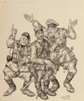 Mainstream Illustration, Arthur Szyk (American, 1894-1951). Mussolini, Tojo, andHitler, 1941. Ink and pencil on paper. 9.5 x 8 in. (sight).Sign...