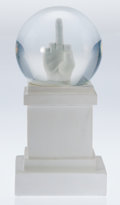 Sculpture, Maurizio Cattelan (b. 1960). L.O.V.E. Snowball, 2015. Resin, glass and concrete. 10 x 4-3/4 x 4-3/4 inches (25.4 x 12.1 ...