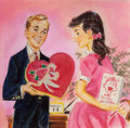 Mainstream Illustration, Bruce Howson (American, 20th Century). Valentine's Daydisplay. Mixed media on paper with collage. 11.75 x 12 in.(image...