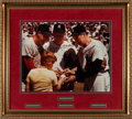 Baseball Collectibles:Photos, 1990's Musial, Mantle and DiMaggio Multi-Signed OversizedPhotograph....
