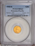 Commemorative Gold: , 1915-S G$1 Panama-Pacific Gold Dollar MS63 PCGS. Well struck,satiny, and unmarked, with two or three tiny alloy spots on t...