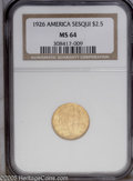 Commemorative Gold: , 1926 $2 1/2 Sesquicentennial MS64 NGC. Lustrous, each detail iswell defined against the smooth and creamy reddish-gold sur...