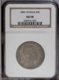 Coins of Hawaii: , 1883 50C Hawaii Half Dollar AU58 NGC. A deep coating of green-graypatina blankets each side, with glimmers of orange luste...