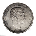 Coins of Hawaii: , 1883 50C Hawaii Half Dollar MS60 ANACS. From a scarcer Hawaiiandenomination, this piece exhibits moderate steel-gray color...