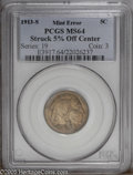 Errors: , 1913-S 5C Type One Buffalo Nickel--Struck 5% Off Center--MS64 PCGS. Richly toned in golden-brown, lilac, and blue-green col...