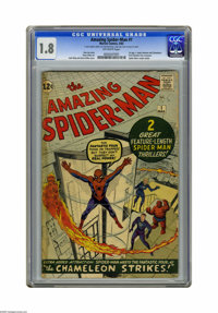 The Amazing Spider-Man #1 (Marvel, 1963) CGC GD- 1.8 Off-white pages. Spider-Man's origin is retold. First Fantastic Fou...