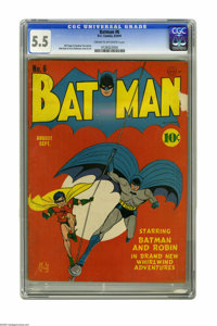 Batman #6 (DC, 1941) CGC FN- 5.5 Cream to off-white pages. Co-creator Bob Kane gets assistance from Jerry Robinson on th...