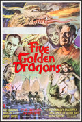 "Movie Posters:Action, Five Golden Dragons (American International, 1967). British OneSheet (27"" X 40""). Action.. ..."