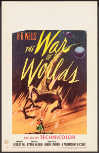 "The War of the Worlds (Paramount, 1953). Window Card (14"" X 22""). Science Fiction"